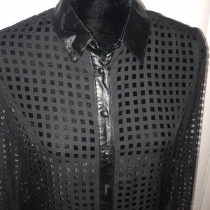 Faux leather collar and trim shirt
